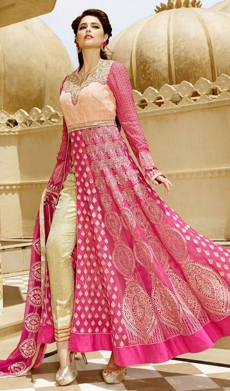 Spruce up ur persona in this rose pink color embroidered georgette Anarkali pant style suit. The stunning lace and resham work throughout the dress is awe-inspiring. #pinkanarkalidress #georgetteembroidereanarkalisuits #straightcutanarkalidresses