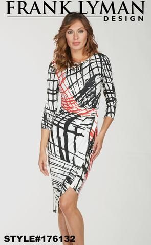 Frank Lyman 2018. Very flattering wrap midi length dress in practical style. Proudly Made in Canada