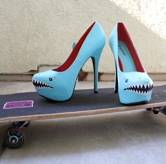 Hey, I found this really awesome Etsy listing at http://www.etsy.com/listing/155403045/shark-spikes-hand-painted-high-heel