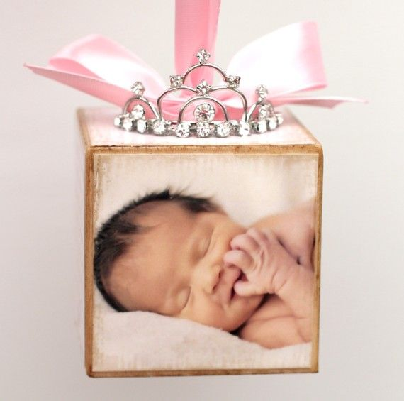 Baby Block Ornament. The little crown!