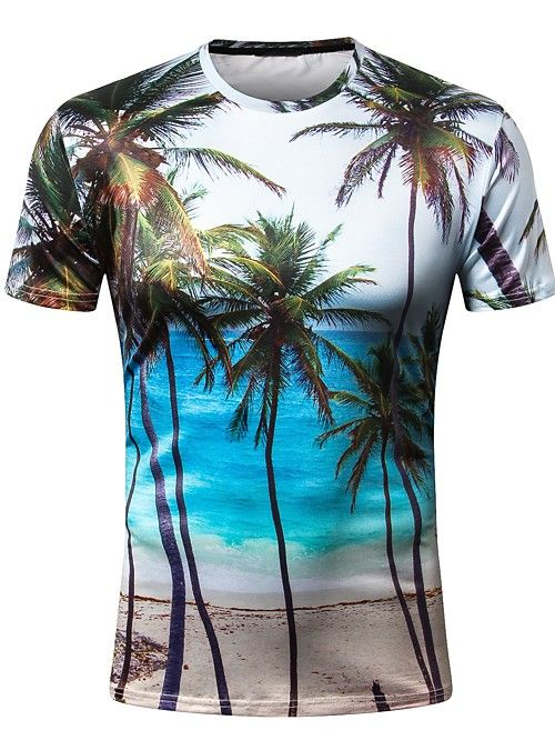 Men's Daily Holiday Basic Slim T-shirt – Trees / Leaves Print Round Neck Rai…