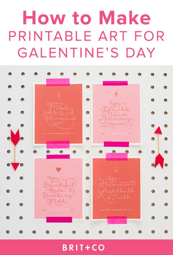 Save this printable Valentine's Day craft to make wall art for your Galentine's Day party.