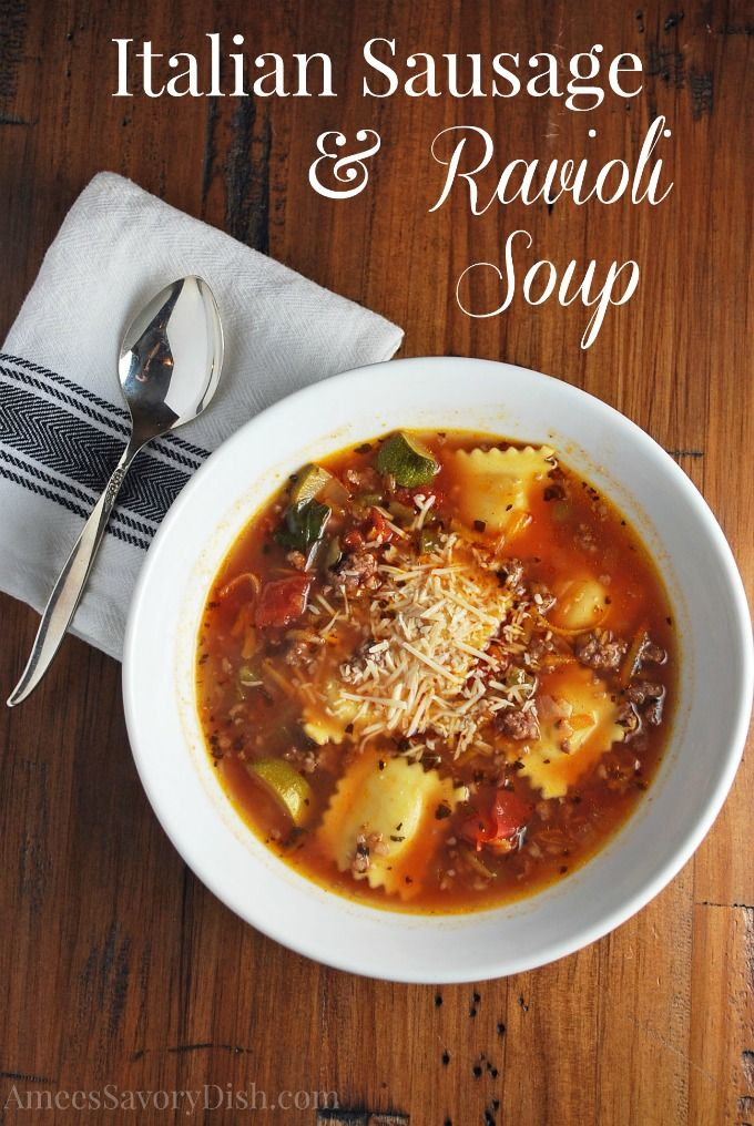Nothing is better than a hot pot of soup and some warm bread on a cold winter's day. For an extra hearty meal, try out this Italian sausage and ravioli soup recipe. Made with savory beef broth and a bit of red wine, this meal has all the makings of a delicious Italian dinner, served up straight from your own kitchen!
