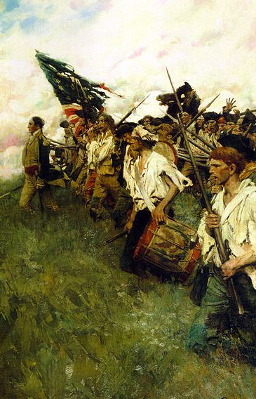 "Painting: ""Nation Makers"" by Howard Pyle, depicting a scene from the Battle of Brandywine during the American Revolutionary War. Source: Brandywine Museum in Chadds Ford, Pennsylvania; Wikimedia. Read more on the GenealogyBank blog: ""Revolutionary War Soldier Andrew Wallace – Dead at 105."" http://blog.genealogybank.com/revolutionary-war-soldier-andrew-wallace-dead-at-105.html"