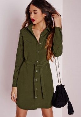 Utility Shirt Dress Khaki- with a puffer vest and plaid scarf