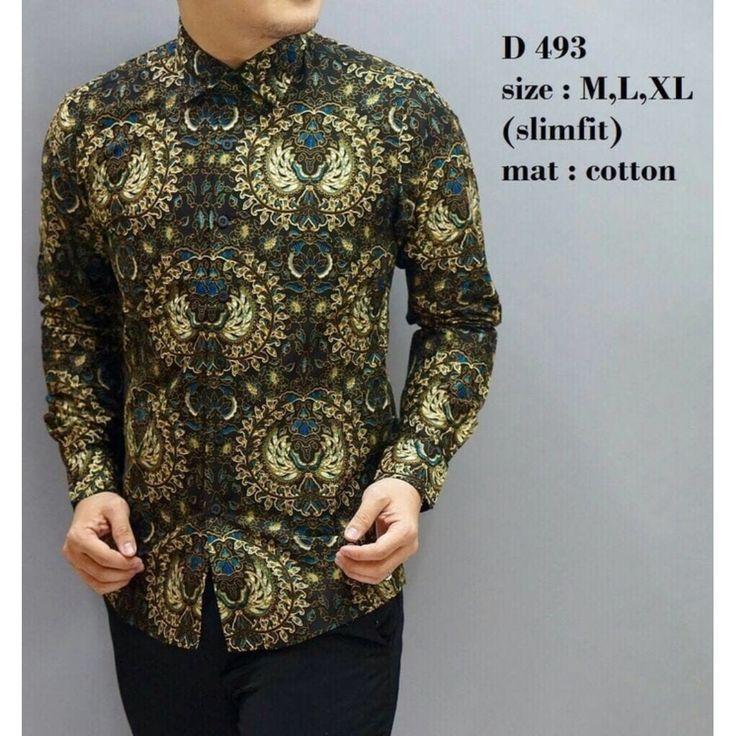 KEMEJA BATIK PRIA / KEMEJA BATIK / BAJU BATIK / SLIM FIT / D493, Preloved Fesyen Pria, Pakaian di Carousell