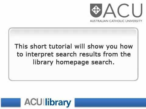 Search Results - how do you interpret the library search results page?