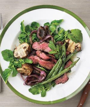 This easy, delicious recipe for Grilled Steak, Mushroom, and Green Bean Salad
