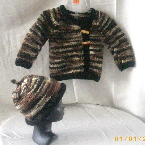 Handknit baby cardigan and hat in black brown and cream