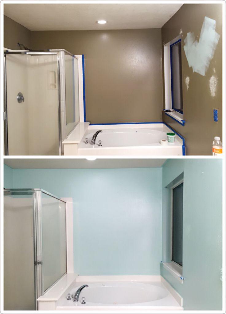 Bathroom makeover DIY paint #Behr whipped mint #first time ...