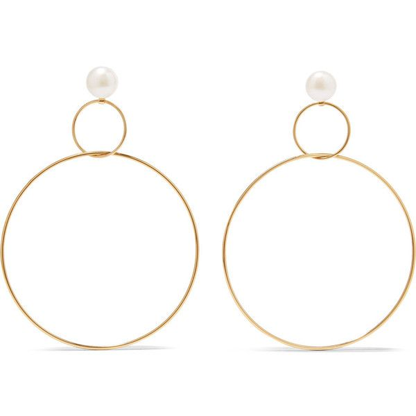 Natasha Schweitzer Gold-plated silver freshwater pearl hoop earrings found on Polyvore featuring jewelry, earrings, accessories, anchor jewelry, freshwater pearl earrings, earring jewelry, cultured pearl earrings and stud earrings