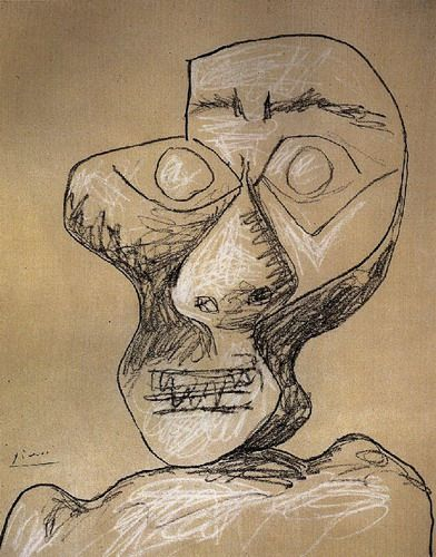 Pablo Picasso Self portrait, 1972, chalk and pencil on ...