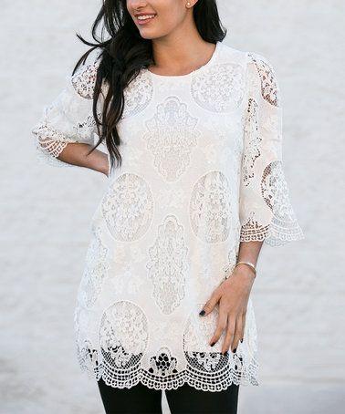 Look what I found on #zulily! White Lace Scallop-Hem Three-Quarter Sleeve Top - Plus #zulilyfinds