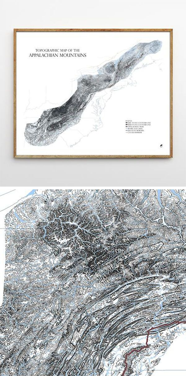 "Appalachian Mountain Range Topographic Map - Our ""Topographic Map of the Appalachian Mountains"" illustrates the entire mountain range through contour lines.  We believe ours is the first map of the whole range with this degree of detail and accuracy from the southern tip to the northern border in Canada.  The map depicts the landscape through elevation, maps all of the rivers and lakes in the mountains, and traces the Appalachian Trail within its borders. #mountains #travel #appalachiantrail"