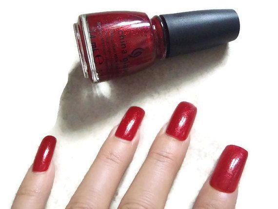 unghie finte rosso glitter nail art unghie artificiali smalto rosso glitter…