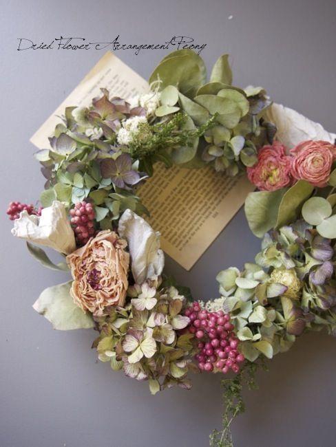 まもるリース - ドライフラワーリースアレンジ | Dried Flower Arrangement ''Peony'' ピオニー
