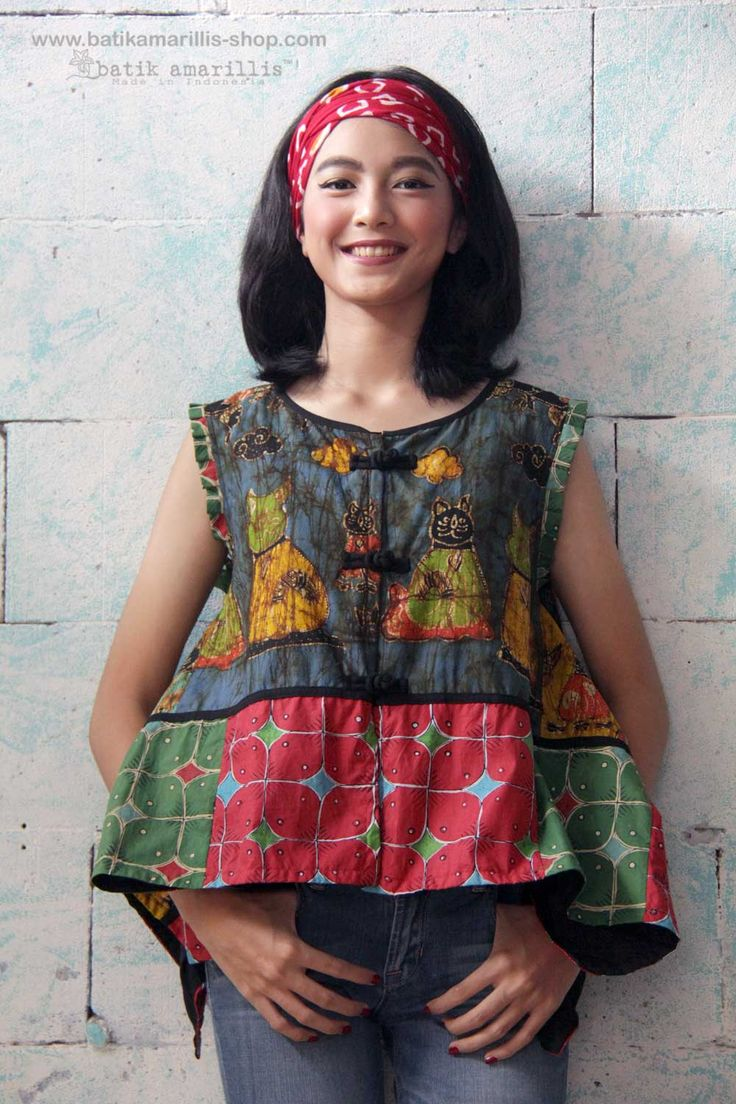 Batik Amarillis Made in Indonesia proudly presents : Batik Amarillis's signature patchwork jacket /vest such a lovely piece of clothing with unique cutting! #batikamarillis #batikindonesia