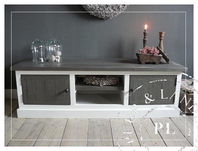 Maatwerk! Landelijk tv meubel / flatscreenmeubel driftwood | 》Landelijk tv meubel / flatscreenmeubel / flatscreenkast | Puur & Landelijk Liv...