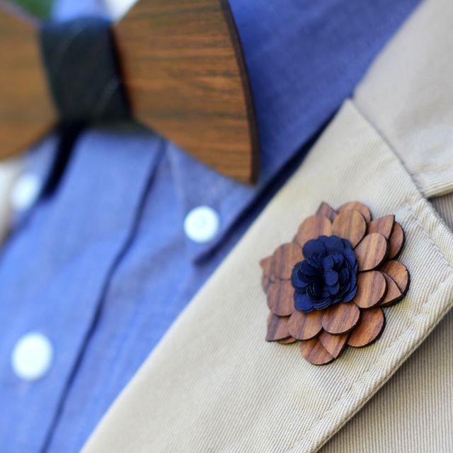 Charleston Wooden Lapel Flower by Two Guys Bow Ties