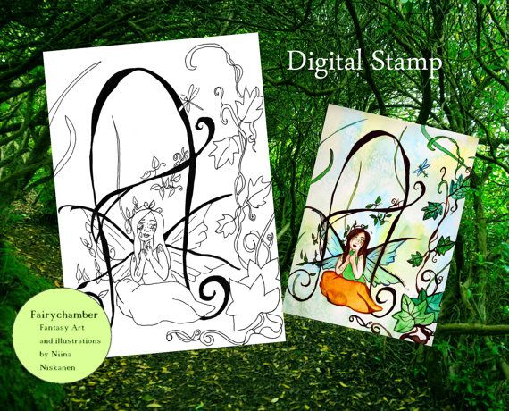 Fairy Monogram A is for Agatha Digital Stamp Instant Download Fantasy Fairy Art Line Art Printable Coloring page Printable Fairy Art