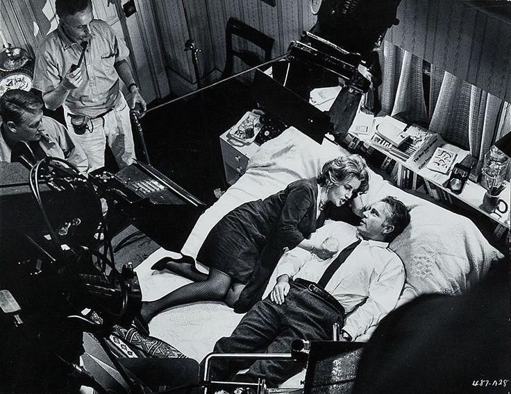 Dir Mike Nichols, DP Haskell Wexler, Liz Taylor & Richard Burton on set of Who's Afraid of Virginia Woolf?, 1966.