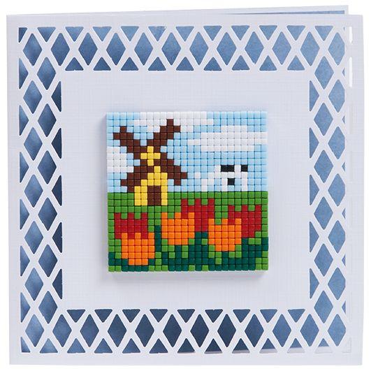 #ideeën #doe-het-zelf #knutselen #pixelhobby #pixelen #hobby #inspiratie #kaarten #3D #creaties #holland #ik hou van holland #molen #tulpen