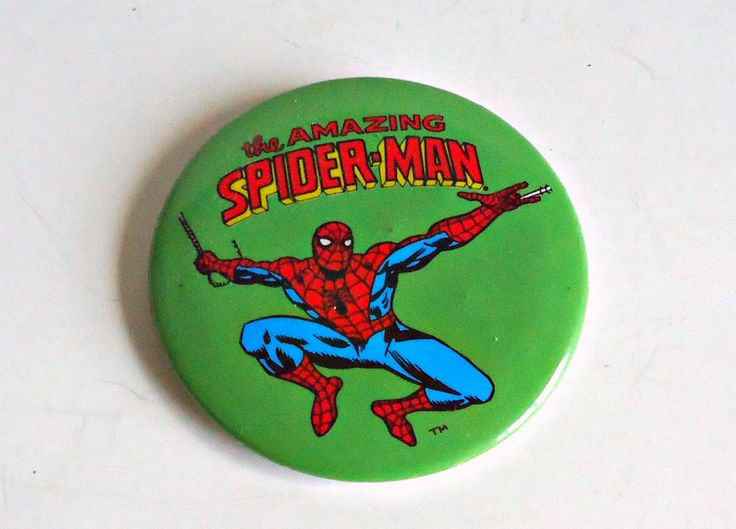 Pinback Button Vintage The Amazing Spider-man Pin Back Button Marvel 1991 by treasurecoveally on Etsy