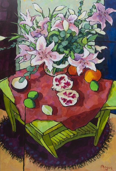 """Stargazers with Pomegranate on Green Table Acrylic 36"""" X 24"""" - See more at:http://ventanafineart.com/angus/"""