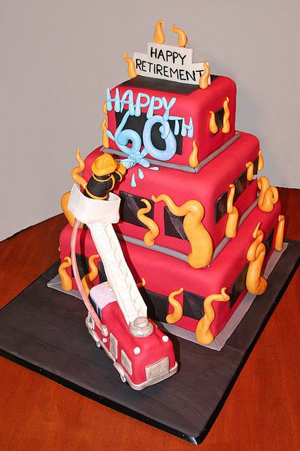 Fireman 60th Birthday And Retirement Cake Cakes