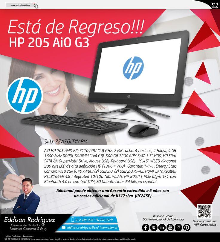 Está de Regreso!!! HP 205 AiO G3: Contacta a tu gerente de producto para más información: Eddison Rodriguez Celular: 312 459-0051 Email: eddison.rodriguez@sed.international #HP #SEDColombia #SEDInternational