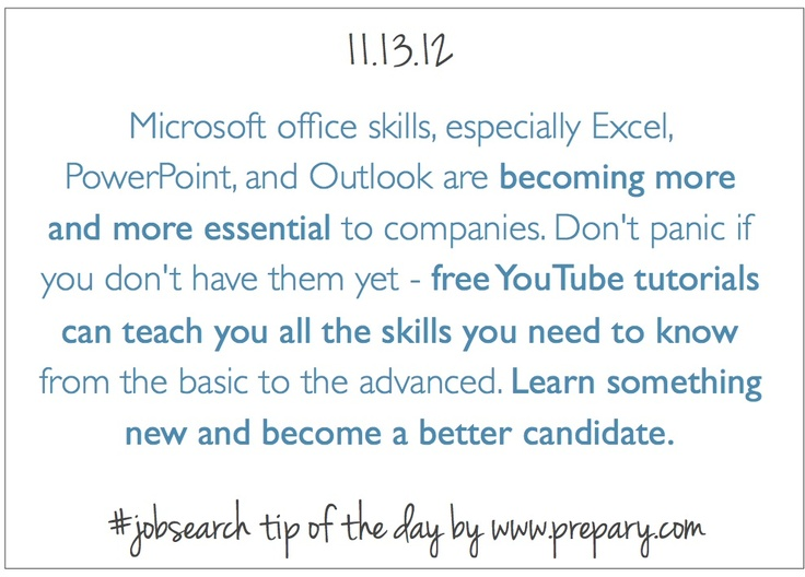 Job Search Tip Of The Day 11.13.12 #jobsearchtip #youtube #potential