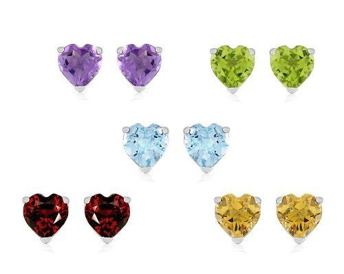 Sterling Silver Amethyst, Citrine, Blue Topaz, Garnet and Peridot Heart Stud Earrings , Set of Five Amazon Curated Collection. $69.00. The natural properties and composition of mined gemstones define the unique beauty of each piece. The image may show slight differences to the actual stone in color and texture. Made in Canada. Gemstones may have been treated to improve their appearance or durability and may require special care.