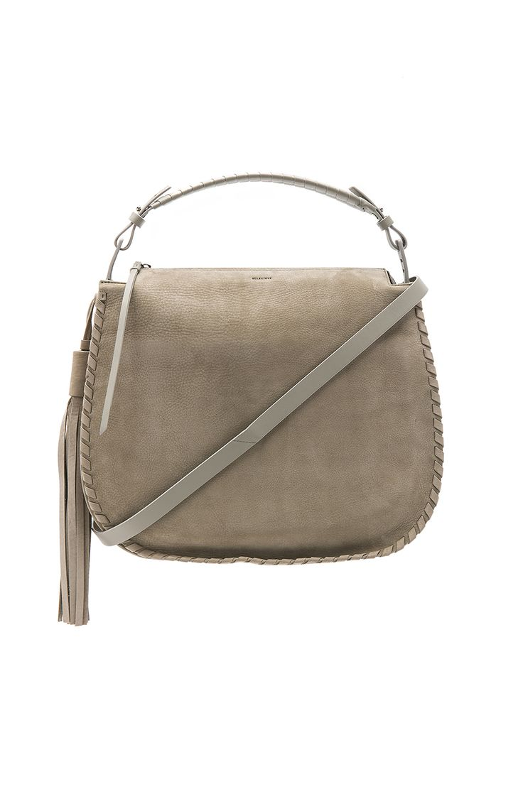 ALLSAINTS Mori Hobo. #allsaints #bags #lining #shoulder bags #suede #hand bags #nylon #hobo #