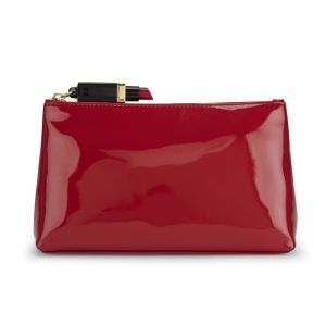 Lulu Guinness Medium T-Seam Zip Top Patent Clutch Bag - Red