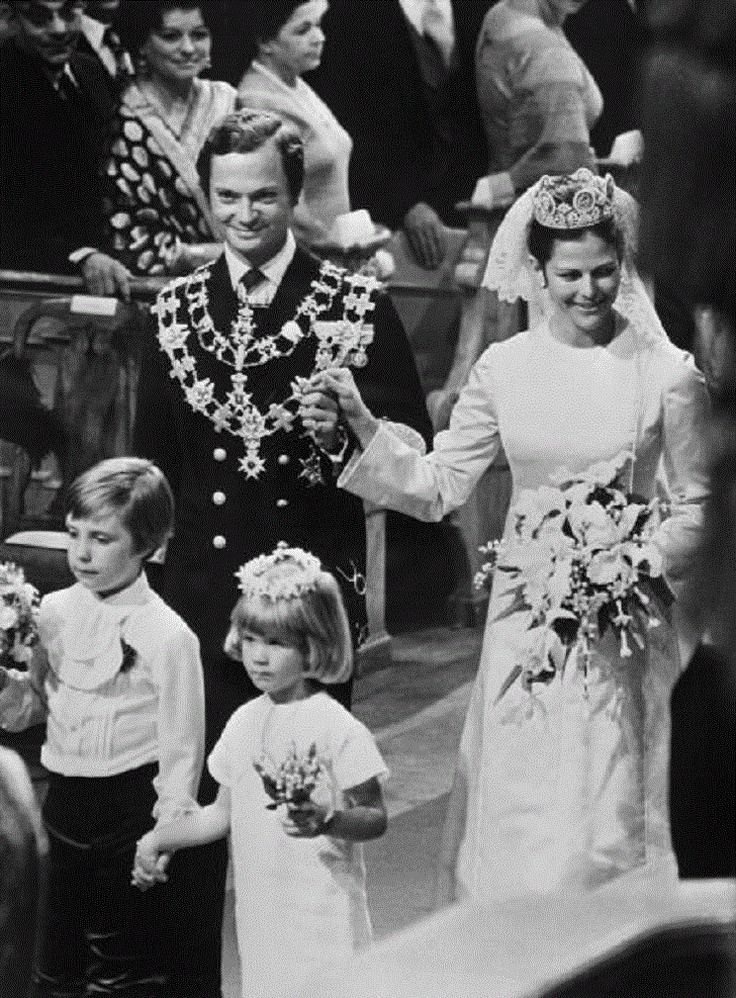 The wedding ceremony of King Carl XVI Gustaf of Sweden with Miss Silvia Sommerlath in the 'Storkyrken' Refomed church, 19 Jun 1976