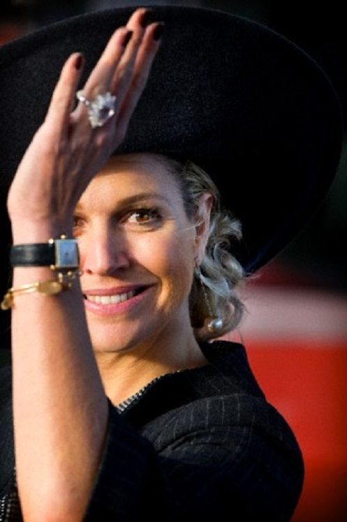 Dutch Queen Maxima's accessories details as she arrives for the opening of the Lely Campus in Maassluis, The Netherlands, 30.01.14.