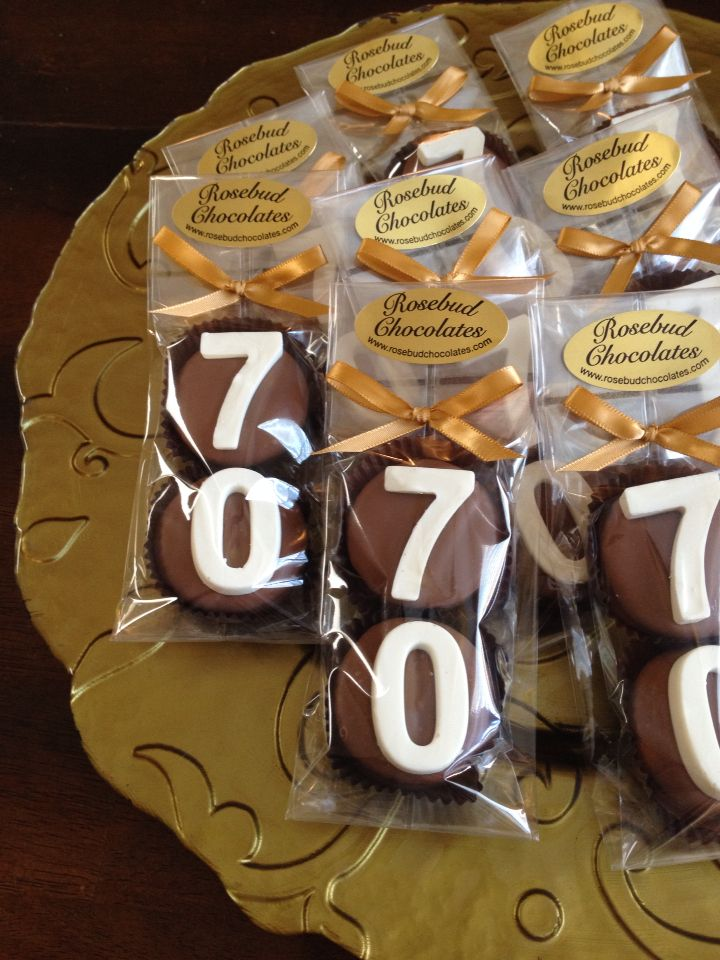 Chocolate Double Hand Dipped Cookies.. #70th Birthday Candy Favors... Seventy www.rosebudchocolates.com