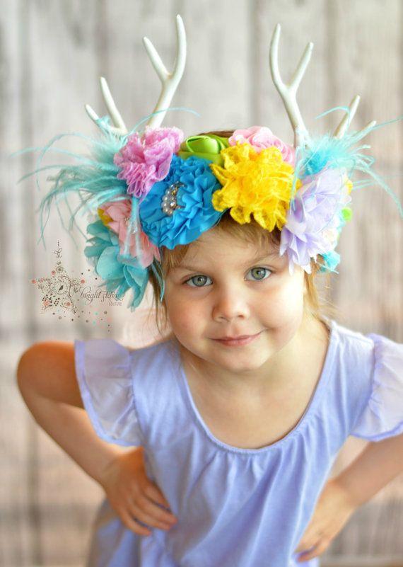 herten hoofdband geweien - herten oren hoofdband - gewei hoofdtooi - herten gewei van de hoofdband - meisjes bloem hoofdbanden - hoofdband geweien