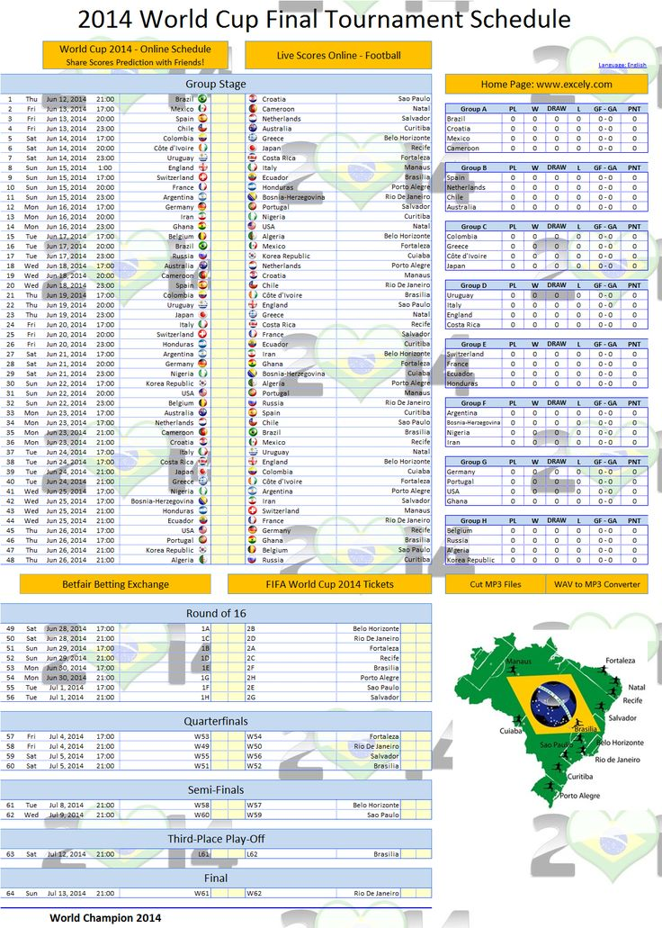 World Cup 2014 Schedule Excel Template - Excel VBA Templates