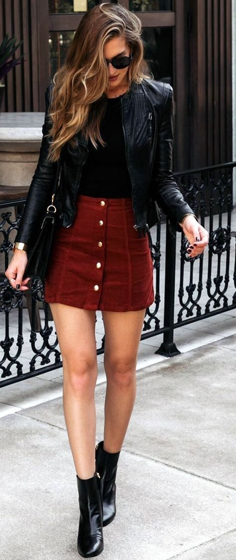 Black leather Jacket & Button Up Mini   style.