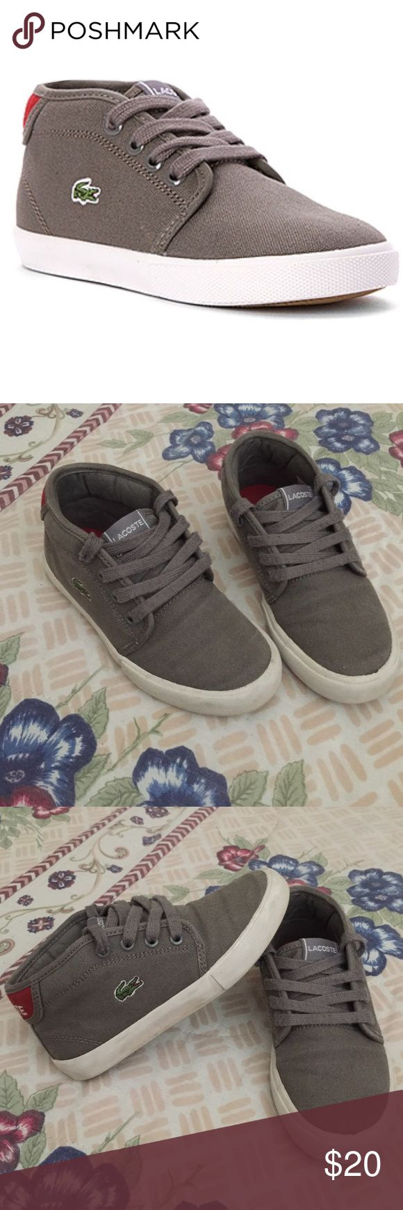 ‼️1 HR SALE‼️ Lacoste Ampthill Mid Sneaker Toddler Very well taken care of sneakers. Faux leather upper, Cushioned footbed, rubber Outsole. No holes Lacoste Shoes Sneakers