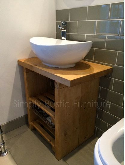 Solid Beam Basin Vanity Unit Wash Stand Rustic By