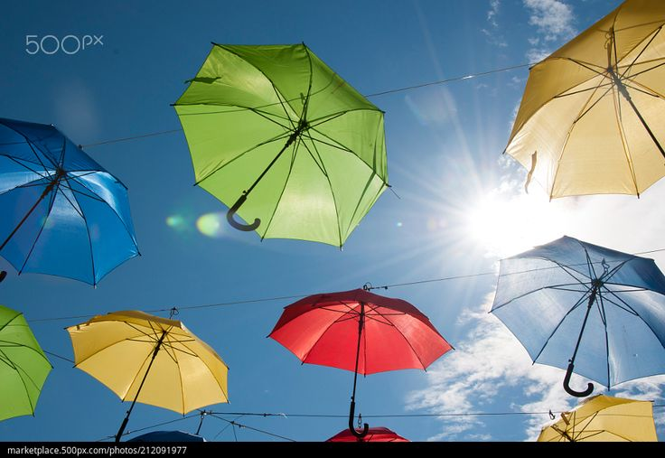 Umbrellas in the Sky  High resolution model: https://500px.com/photo/212091977  © Rau Hartmann Galaxy  #photography #sky #blue #sun #light #clouds #beautiful #lens #flare #creative #colors #fun #umbrellas #colorful #fantasy