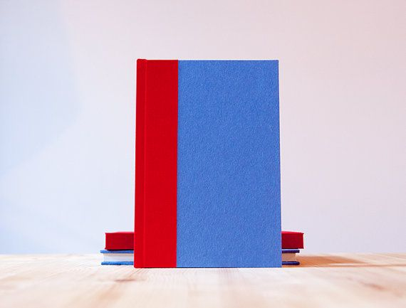 Red and Blue Hardcover Notebook  Journal  Sketchbook by knotbooks