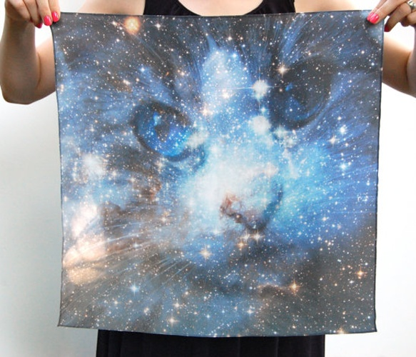 Kitty Space Scarf.Spaces Galaxies, Prints Silk, Cat Scarf, Nebulas Prints, Space Cat, Cat Spaces, Silk Squares, Galaxies Nebula, Silk Scarves
