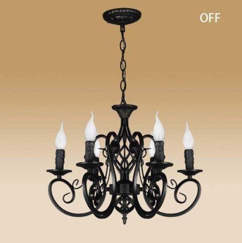 Vintage-Ceiling-lamp-6-Candle-lights-lighting-Fixtures-Black-Chandelier-Pendant