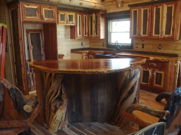 log home kitchens | The unique wood counter tops crafted out of old growth curly redwood ...