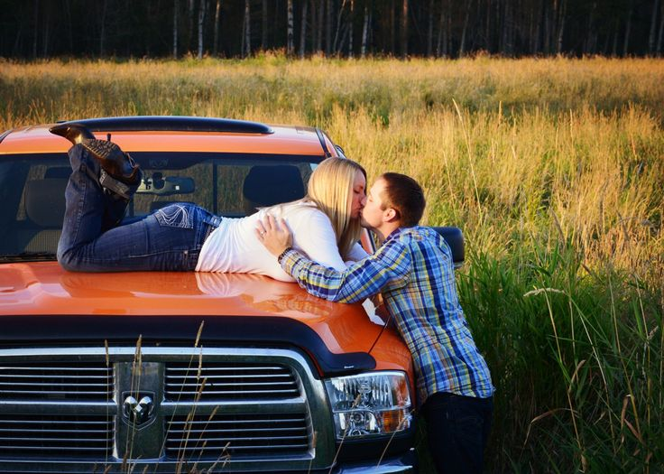 Awesome engagement photo idea with truck :)