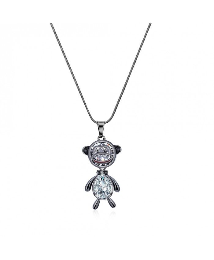 Ouruora Black Gun Plated Monkey Pendant Necklace Lovely