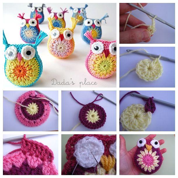 Cute crochet owls ! Free pattern & video--> http://wonderfuldiy.com/wonderful-diy-little-crochet-owl/ #diy #crochet ༺✿ƬⱤღ http://www.pinterest.com/teretegui/✿༻